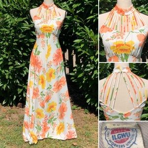 Vintage ILGWU Floral Maxi Dress Strappy Chest Back